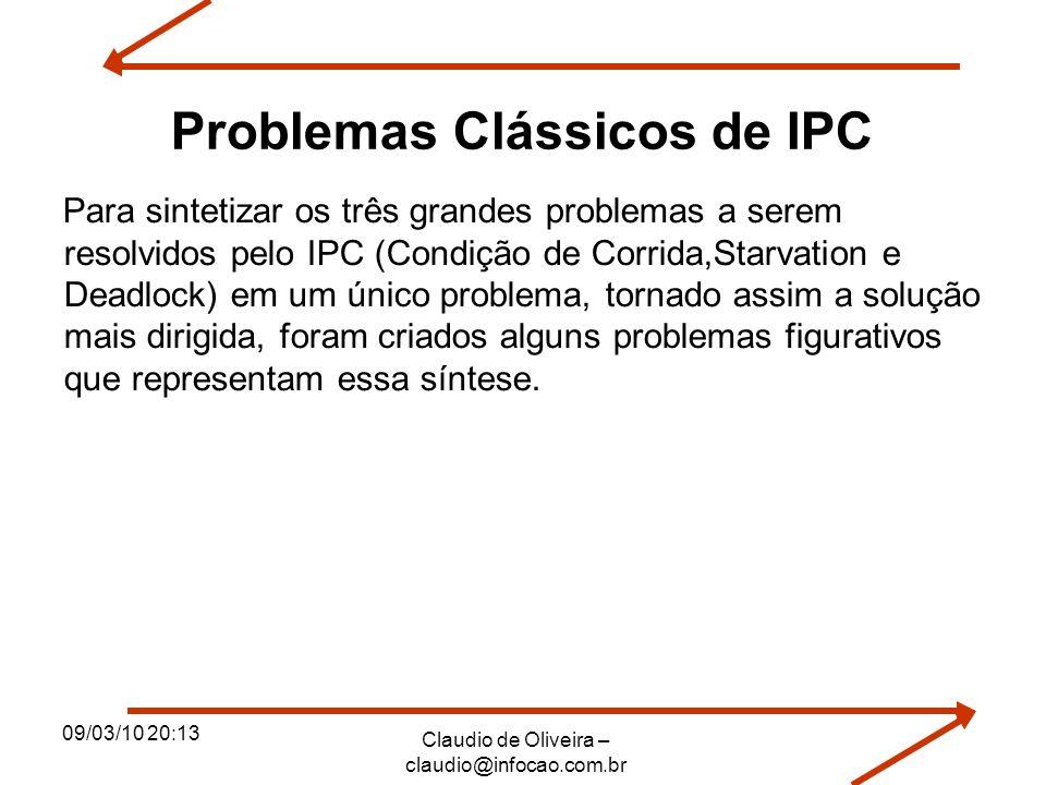 09/03/10 20:13 Claudio de Oliveira – claudio@infocao.com.br Problemas Clássicos de IPC Para sintetizar os três grandes problemas a serem resolvidos pe