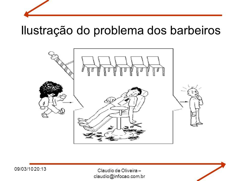 09/03/10 20:13 Claudio de Oliveira – claudio@infocao.com.br Ilustração do problema dos barbeiros