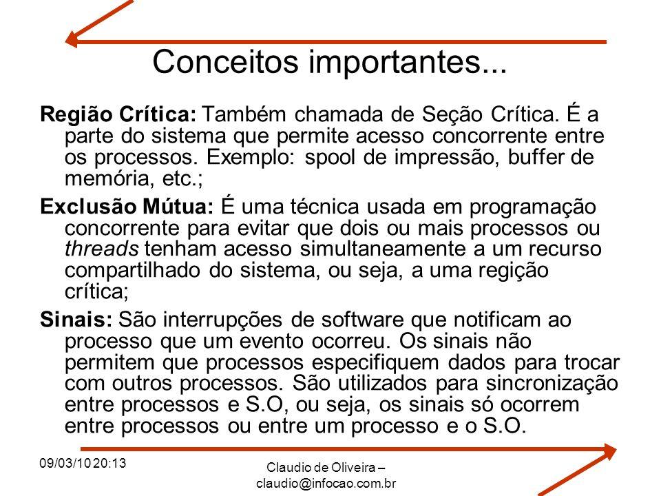 09/03/10 20:13 Claudio de Oliveira – claudio@infocao.com.br Conceitos importantes... Região Crítica: Também chamada de Seção Crítica. É a parte do sis
