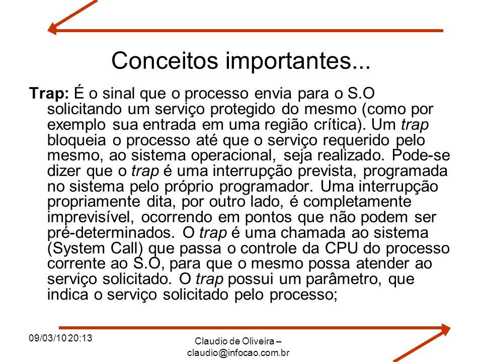 09/03/10 20:13 Claudio de Oliveira – claudio@infocao.com.br Conceitos importantes... Trap: É o sinal que o processo envia para o S.O solicitando um se