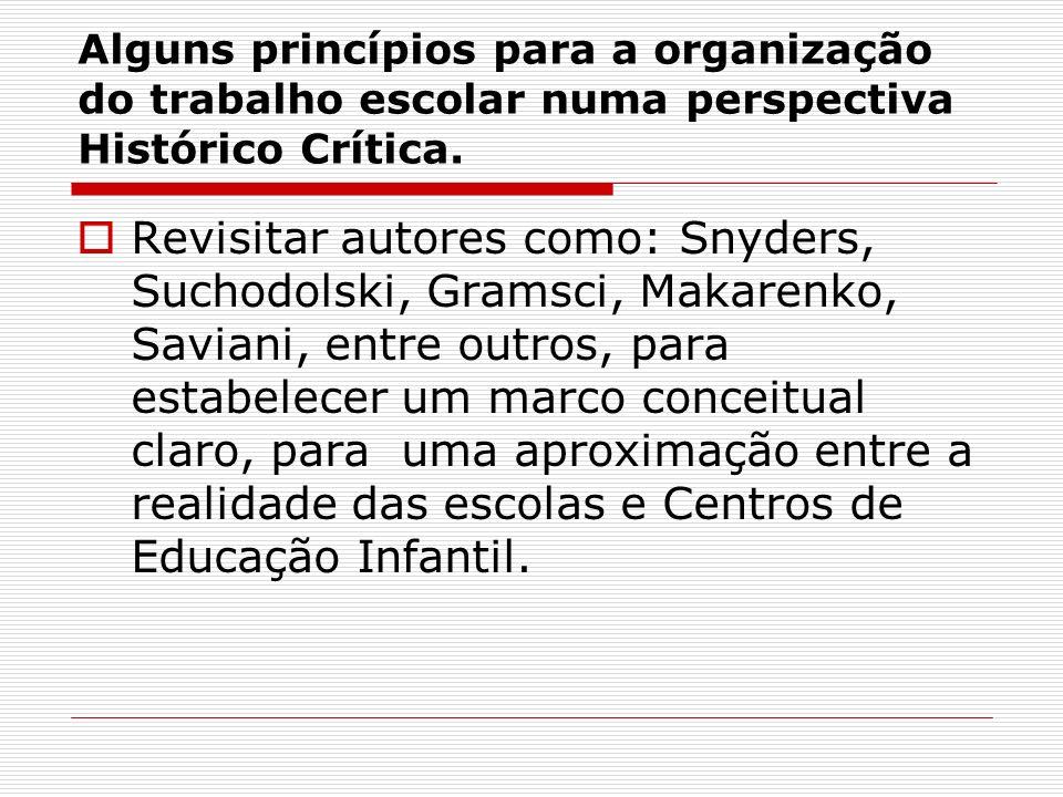 Alguns princípios para a organização do trabalho escolar numa perspectiva Histórico Crítica. Revisitar autores como: Snyders, Suchodolski, Gramsci, Ma