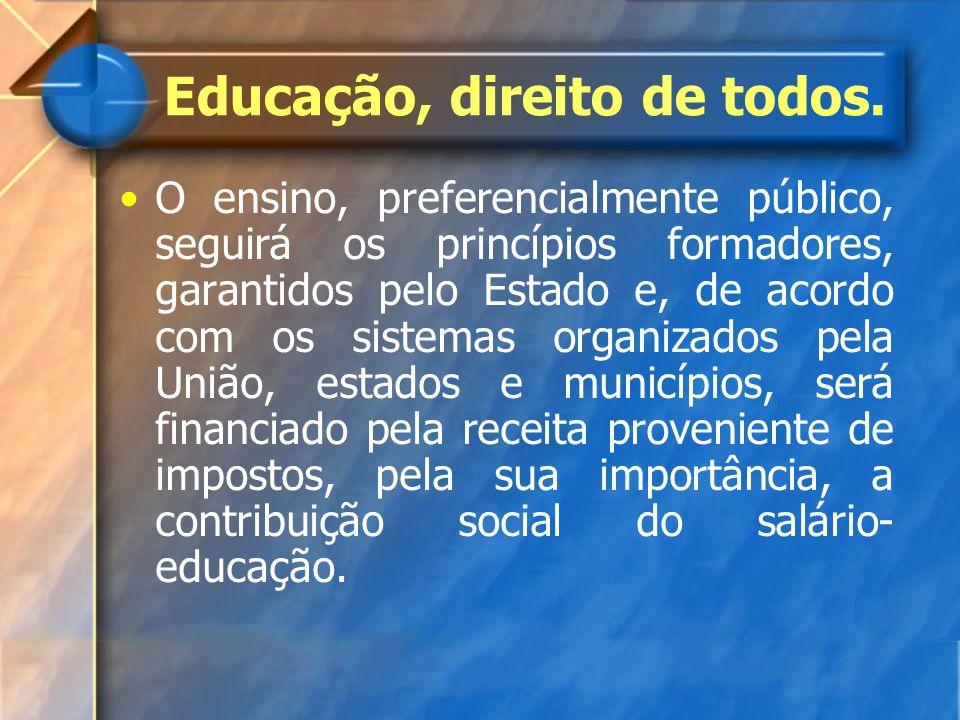 O ensino, preferencialmente público, seguirá os princípios formadores, garantidos pelo Estado e, de acordo com os sistemas organizados pela União, est