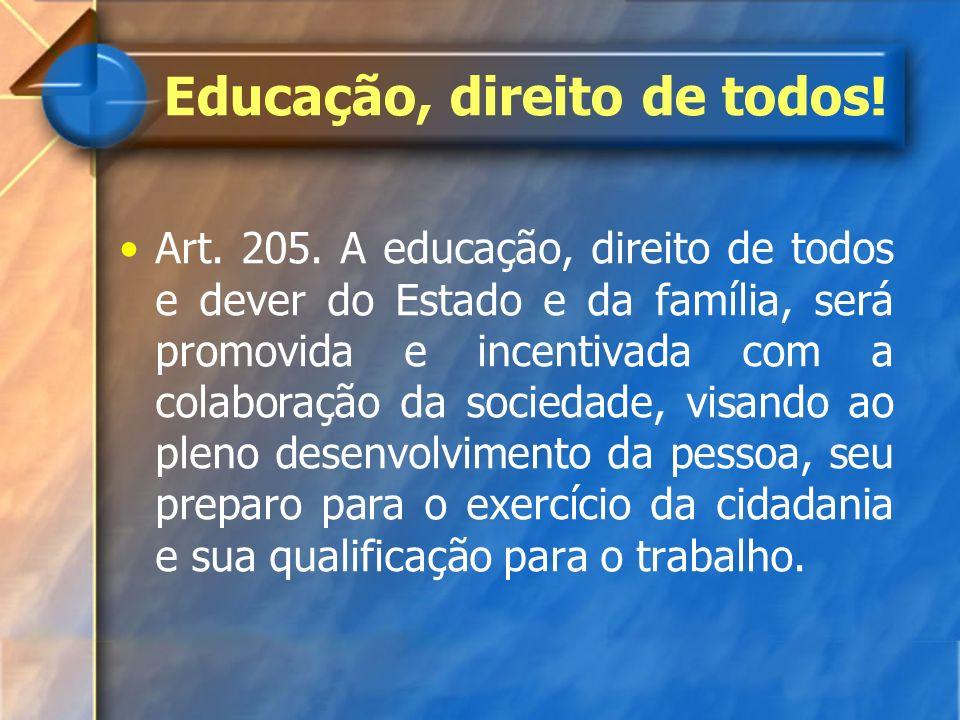 Art. 205. A educação, direito de todos e dever do Estado e da família, será promovida e incentivada com a colaboração da sociedade, visando ao pleno d