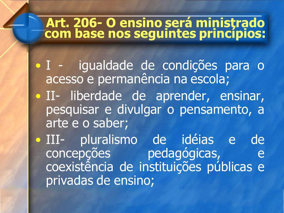 Art. 206- O ensino será ministrado com base nos seguintes princípios: I - igualdade de condições para o acesso e permanência na escola; II- liberdade