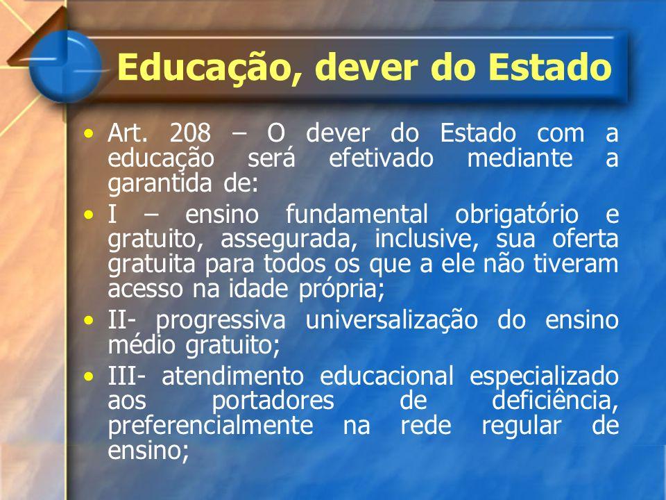 Educação, dever do Estado Art. 208 – O dever do Estado com a educação será efetivado mediante a garantida de: I – ensino fundamental obrigatório e gra