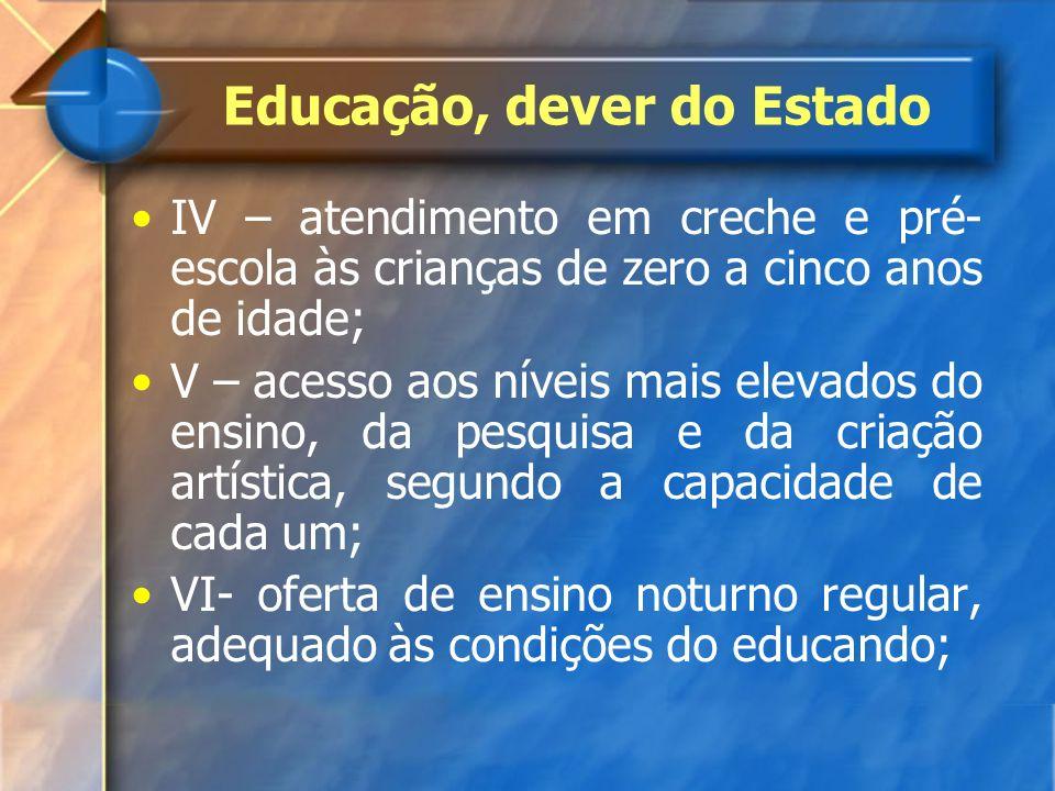 IV – atendimento em creche e pré- escola às crianças de zero a cinco anos de idade; V – acesso aos níveis mais elevados do ensino, da pesquisa e da cr