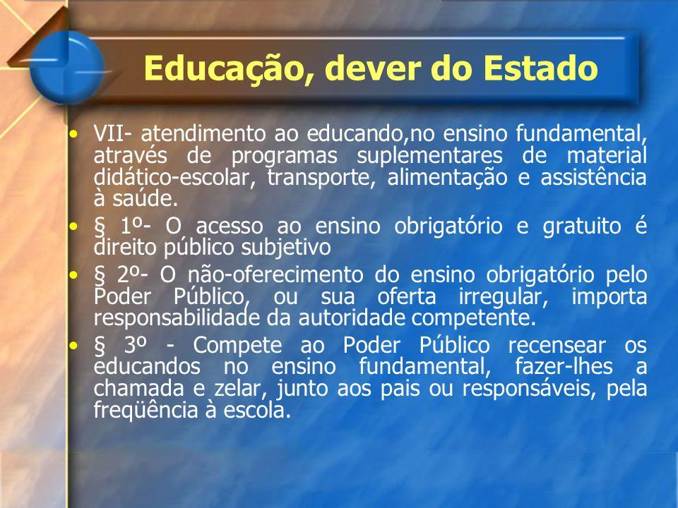 VII- atendimento ao educando,no ensino fundamental, através de programas suplementares de material didático-escolar, transporte, alimentação e assistê
