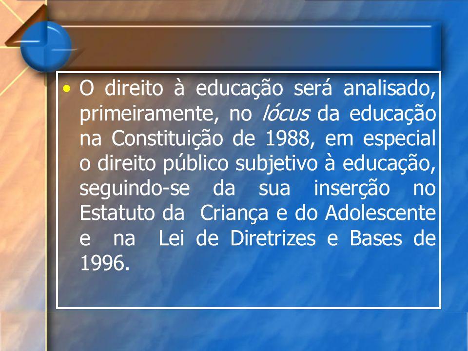 O direito à educação será analisado, primeiramente, no lócus da educação na Constituição de 1988, em especial o direito público subjetivo à educação,