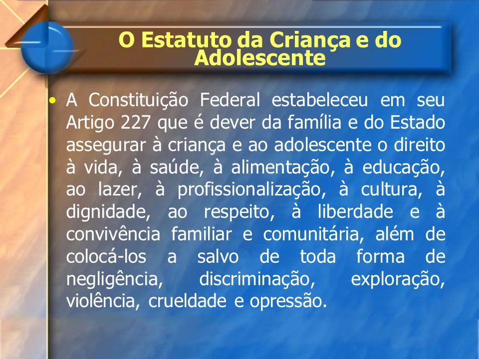 O Estatuto da Criança e do Adolescente A Constituição Federal estabeleceu em seu Artigo 227 que é dever da família e do Estado assegurar à criança e a