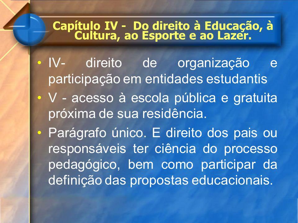 IV- direito de organização e participação em entidades estudantis V - acesso à escola pública e gratuita próxima de sua residência. Parágrafo único. E