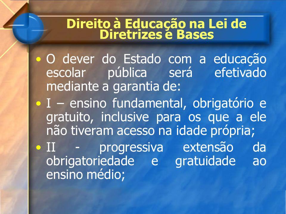 Direito à Educação na Lei de Diretrizes e Bases O dever do Estado com a educação escolar pública será efetivado mediante a garantia de: I – ensino fun