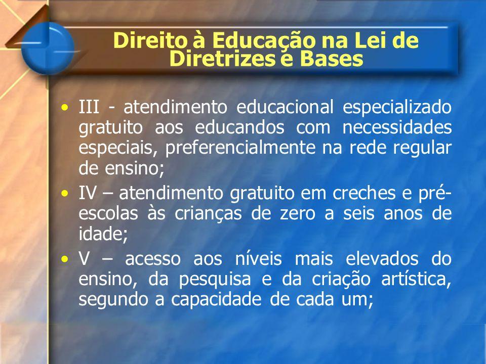 III - atendimento educacional especializado gratuito aos educandos com necessidades especiais, preferencialmente na rede regular de ensino; IV – atend