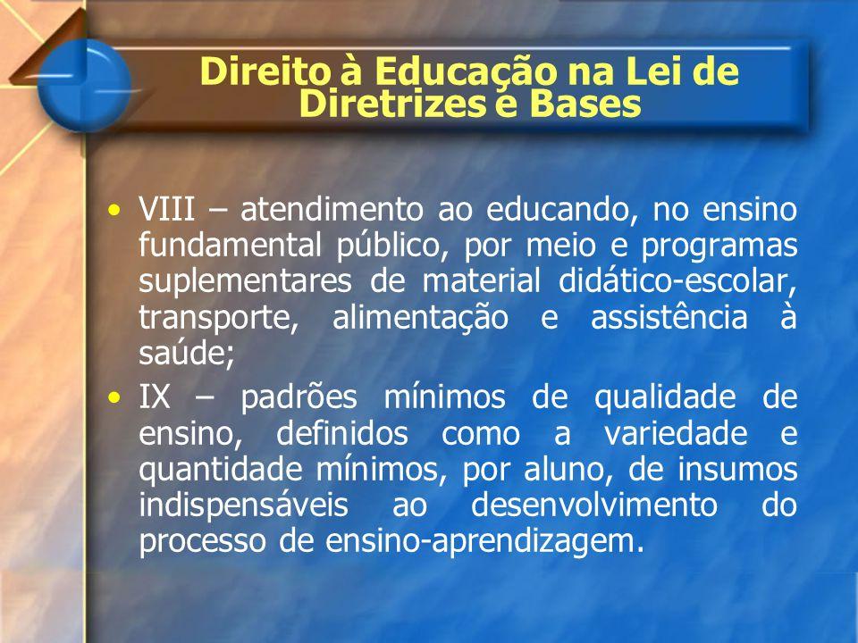 VIII – atendimento ao educando, no ensino fundamental público, por meio e programas suplementares de material didático-escolar, transporte, alimentaçã