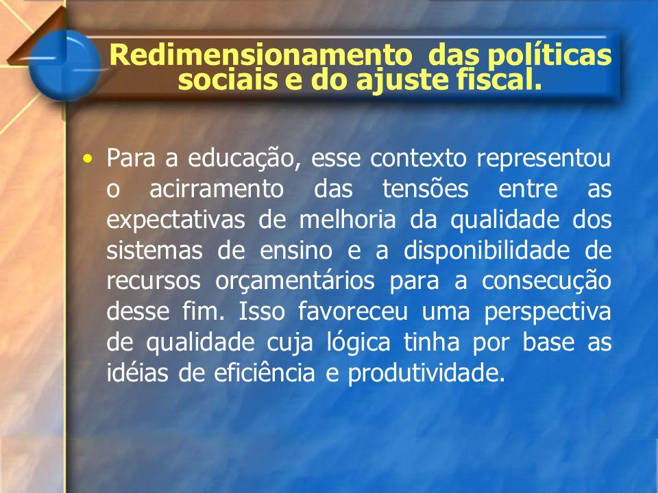 Redimensionamento das políticas sociais e do ajuste fiscal. Para a educação, esse contexto representou o acirramento das tensões entre as expectativas