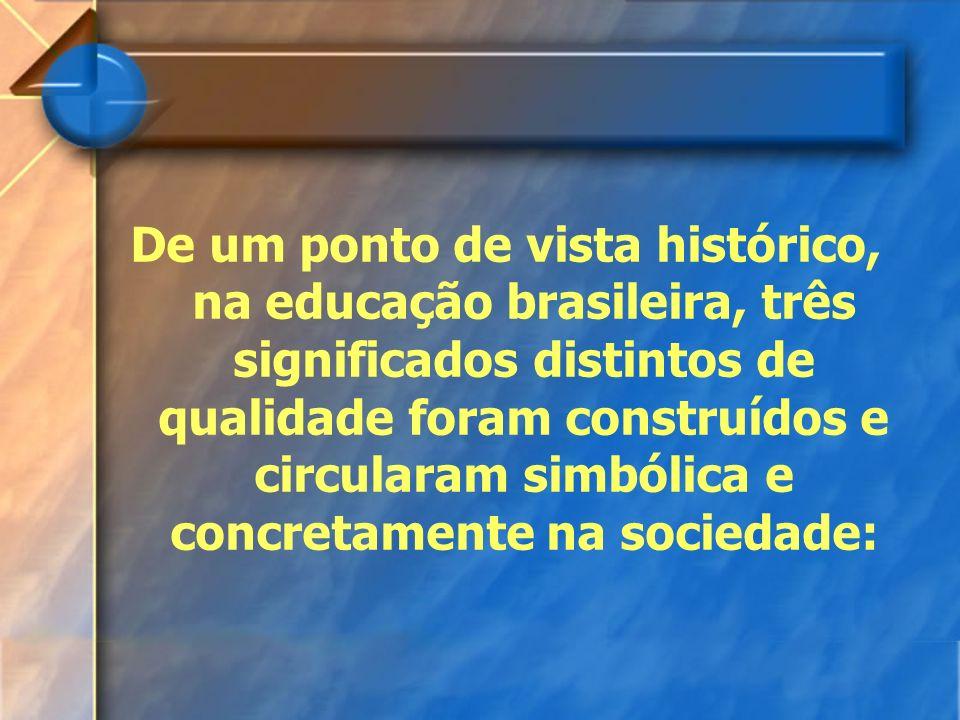 De um ponto de vista histórico, na educação brasileira, três significados distintos de qualidade foram construídos e circularam simbólica e concretame