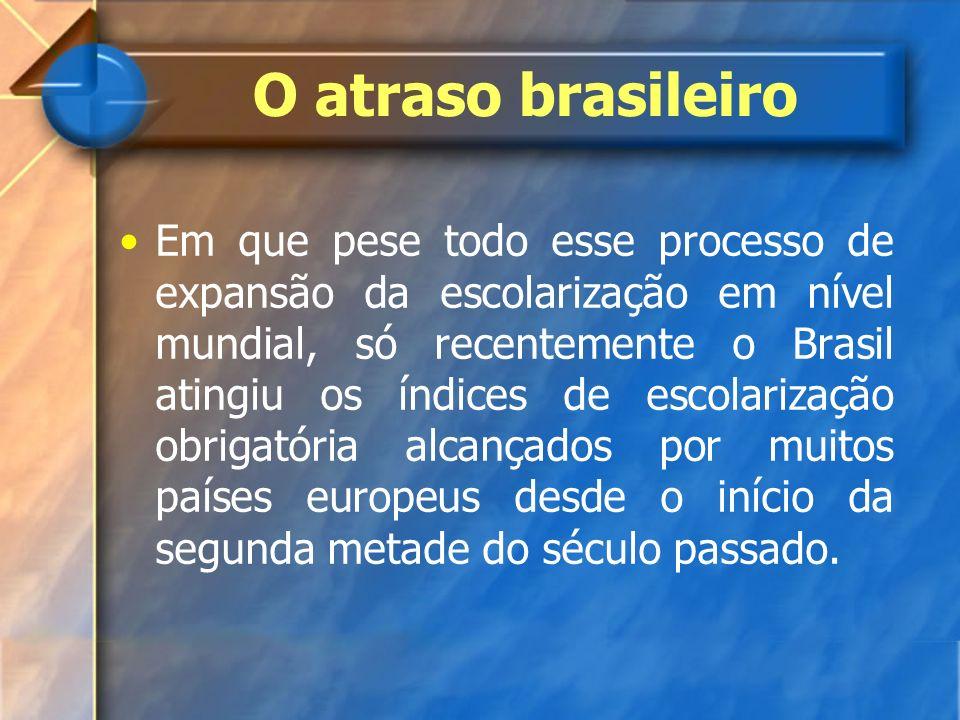 Em que pese todo esse processo de expansão da escolarização em nível mundial, só recentemente o Brasil atingiu os índices de escolarização obrigatória
