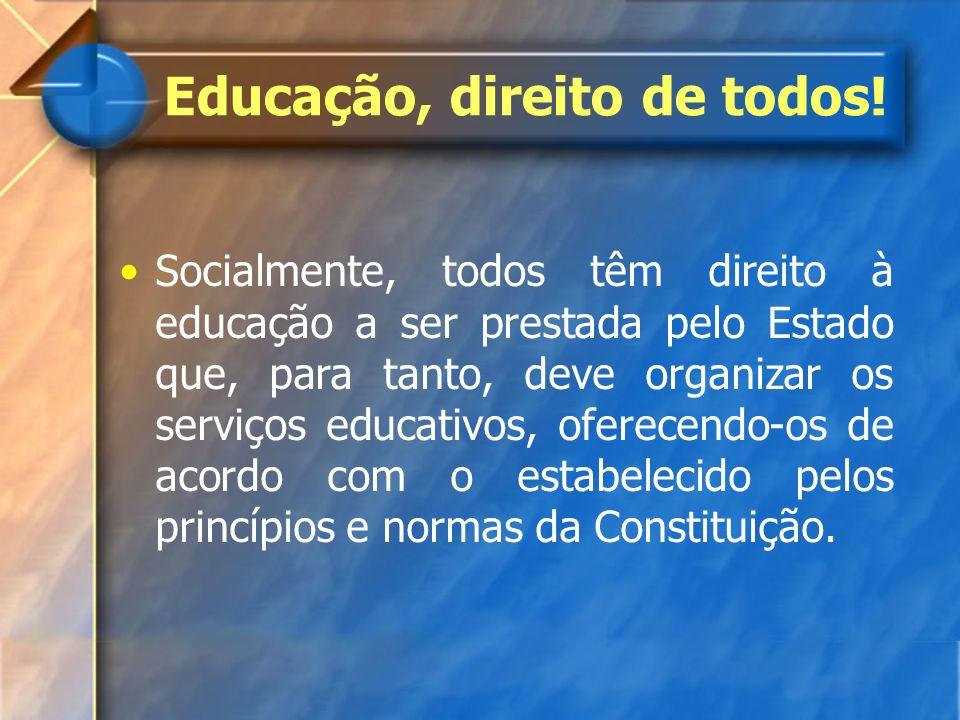 Educação, direito de todos! Socialmente, todos têm direito à educação a ser prestada pelo Estado que, para tanto, deve organizar os serviços educativo