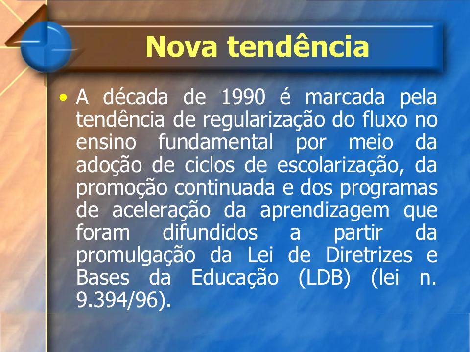 Nova tendência A década de 1990 é marcada pela tendência de regularização do fluxo no ensino fundamental por meio da adoção de ciclos de escolarização