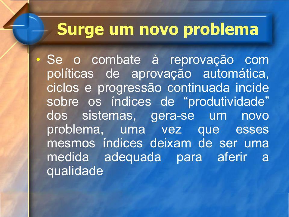 Surge um novo problema Se o combate à reprovação com políticas de aprovação automática, ciclos e progressão continuada incide sobre os índices de prod