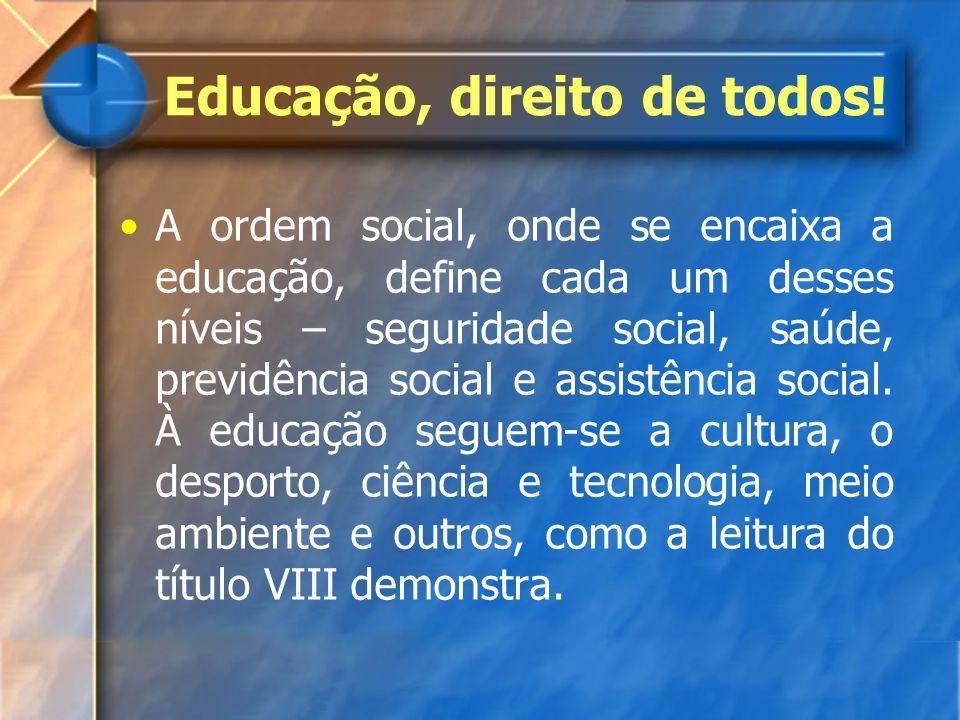 A ordem social, onde se encaixa a educação, define cada um desses níveis – seguridade social, saúde, previdência social e assistência social. À educaç