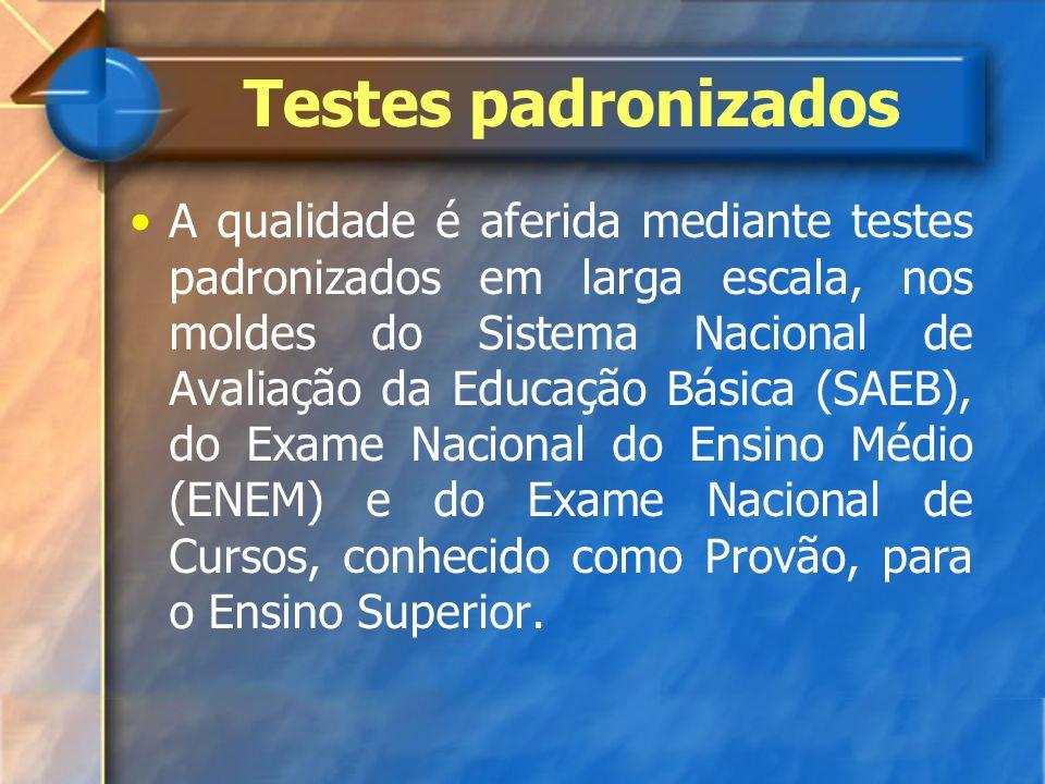 Testes padronizados A qualidade é aferida mediante testes padronizados em larga escala, nos moldes do Sistema Nacional de Avaliação da Educação Básica