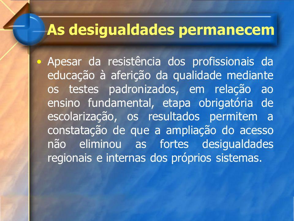 As desigualdades permanecem Apesar da resistência dos profissionais da educação à aferição da qualidade mediante os testes padronizados, em relação ao