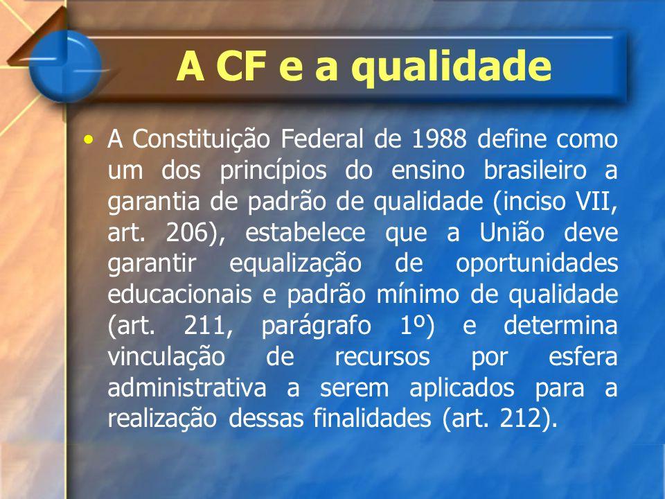 A CF e a qualidade A Constituição Federal de 1988 define como um dos princípios do ensino brasileiro a garantia de padrão de qualidade (inciso VII, ar