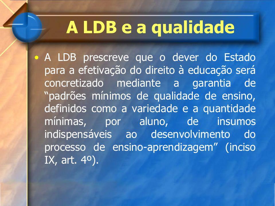 A LDB e a qualidade A LDB prescreve que o dever do Estado para a efetivação do direito à educação será concretizado mediante a garantia de padrões mín
