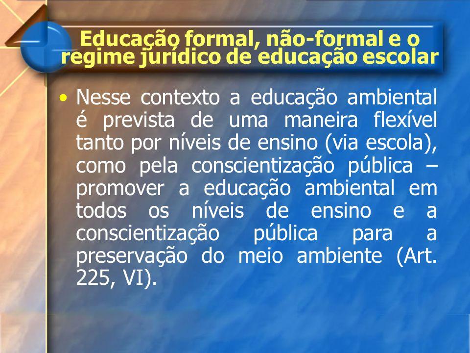 Nesse contexto a educação ambiental é prevista de uma maneira flexível tanto por níveis de ensino (via escola), como pela conscientização pública – pr