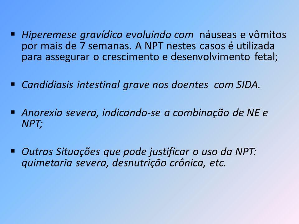 Hiperemese gravídica evoluindo com náuseas e vômitos por mais de 7 semanas. A NPT nestes casos é utilizada para assegurar o crescimento e desenvolvime