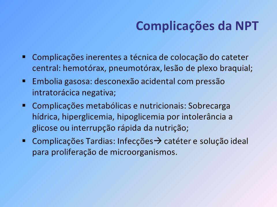 Complicações da NPT Complicações inerentes a técnica de colocação do cateter central: hemotórax, pneumotórax, lesão de plexo braquial; Embolia gasosa: