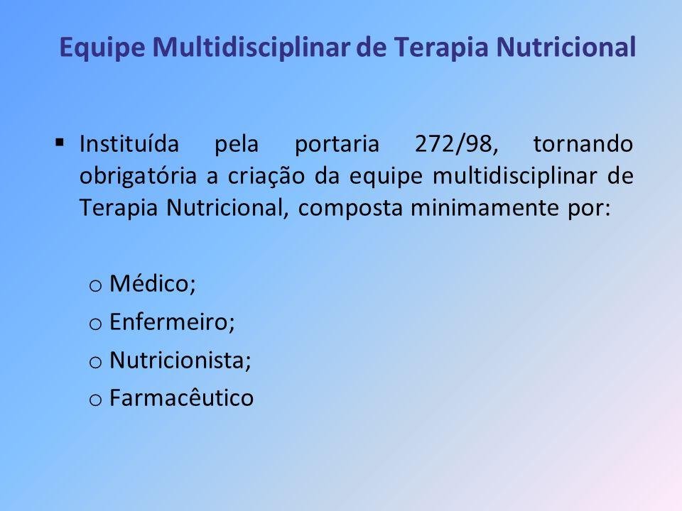 Equipe Multidisciplinar de Terapia Nutricional Instituída pela portaria 272/98, tornando obrigatória a criação da equipe multidisciplinar de Terapia N