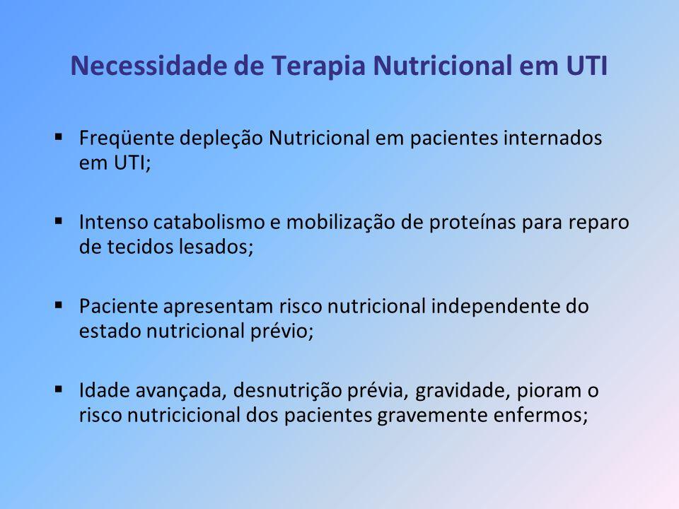 Necessidade de Terapia Nutricional em UTI Freqüente depleção Nutricional em pacientes internados em UTI; Intenso catabolismo e mobilização de proteína
