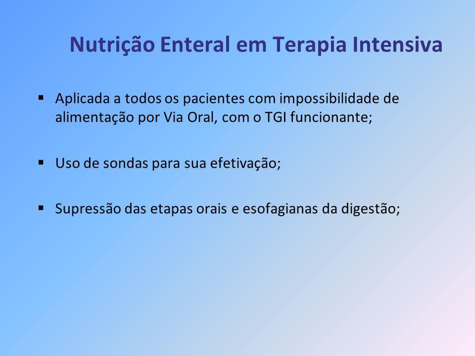 Nutrição Enteral em Terapia Intensiva Aplicada a todos os pacientes com impossibilidade de alimentação por Via Oral, com o TGI funcionante; Uso de son