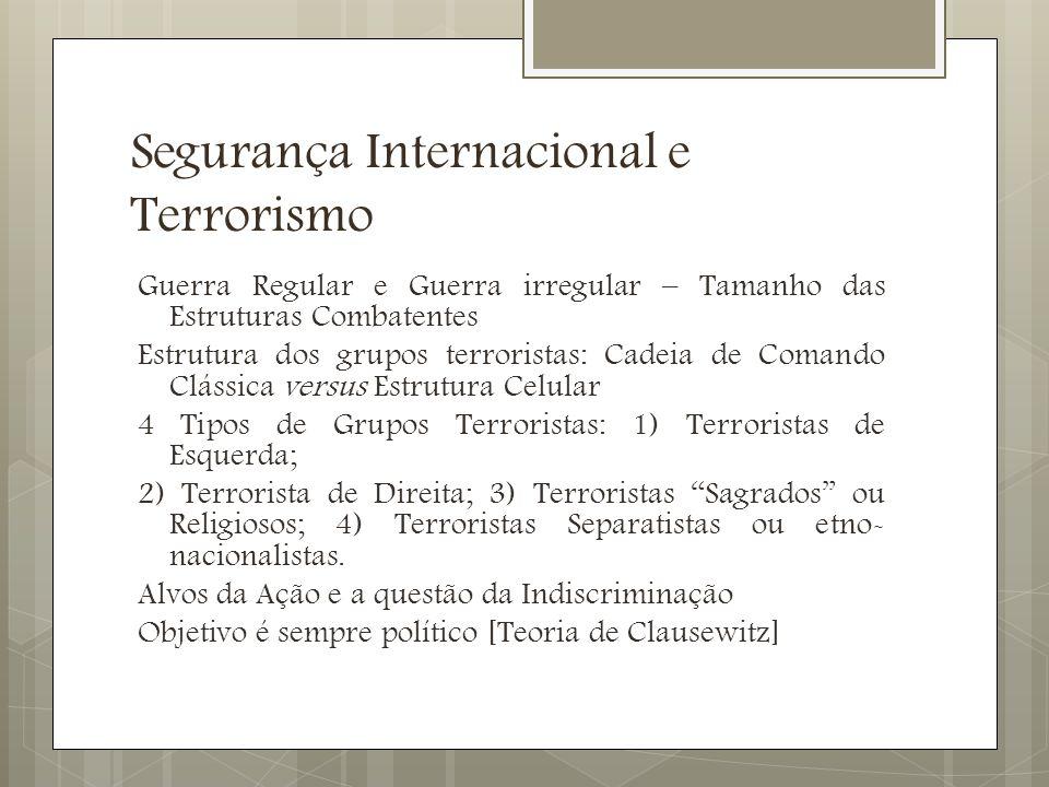Segurança Internacional e Terrorismo Preocupações Terroristas: Coordenação, Segurança, Mobilidade e Letalidade Necessidade de propagação de ações.