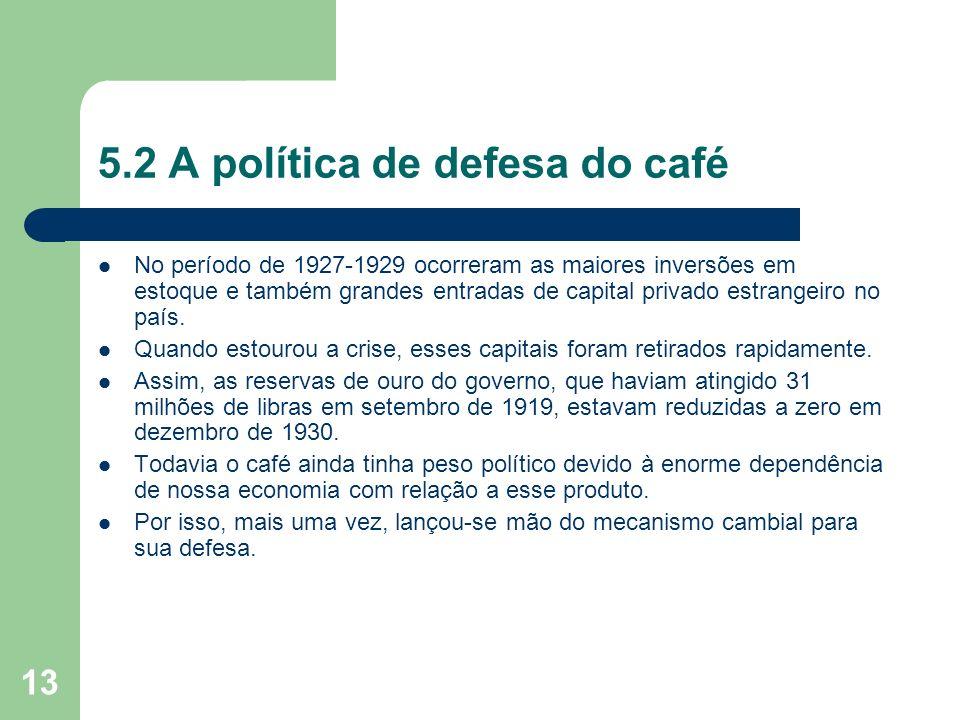 13 5.2 A política de defesa do café No período de 1927-1929 ocorreram as maiores inversões em estoque e também grandes entradas de capital privado est