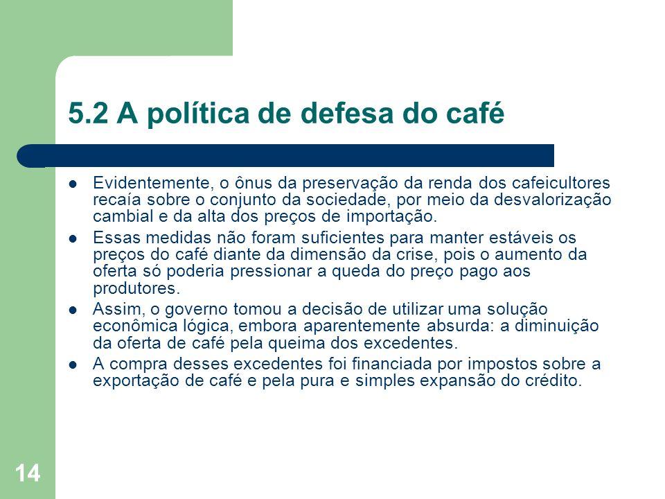 14 5.2 A política de defesa do café Evidentemente, o ônus da preservação da renda dos cafeicultores recaía sobre o conjunto da sociedade, por meio da