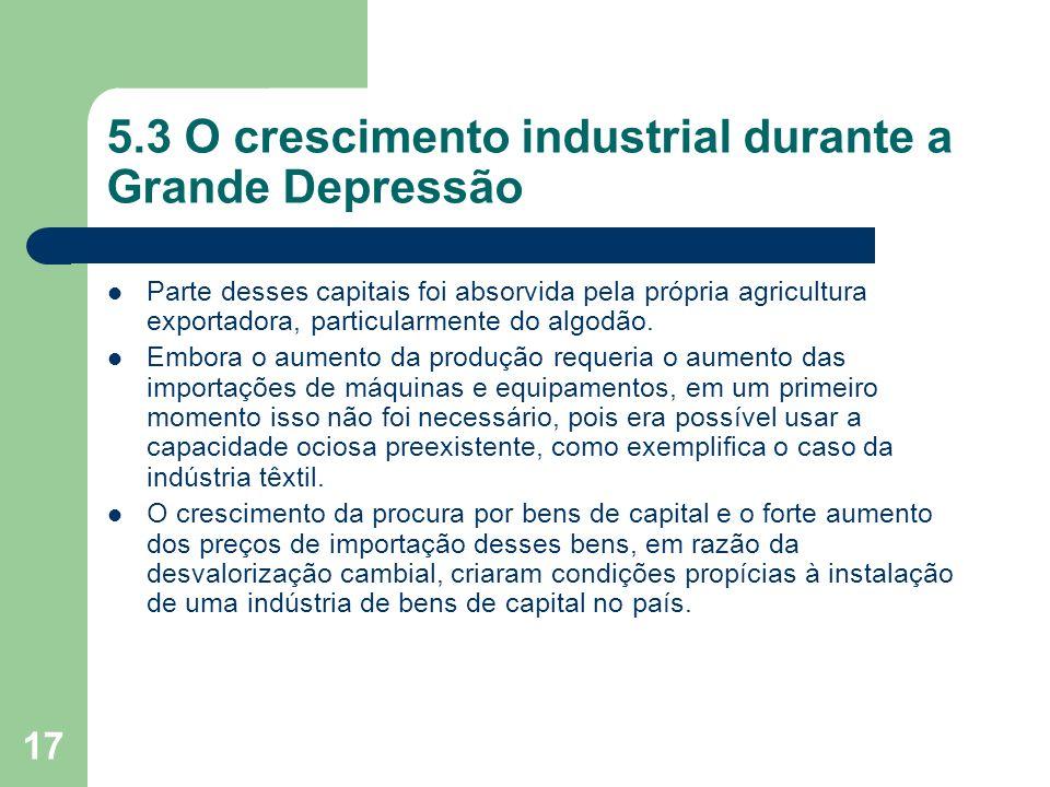 17 5.3 O crescimento industrial durante a Grande Depressão Parte desses capitais foi absorvida pela própria agricultura exportadora, particularmente d