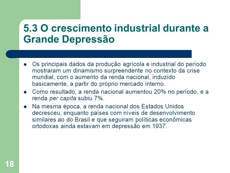 18 5.3 O crescimento industrial durante a Grande Depressão Os principais dados da produção agrícola e industrial do período mostraram um dinamismo sur