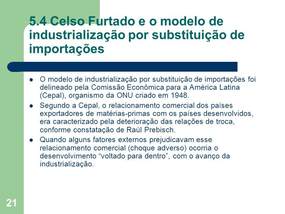 21 5.4 Celso Furtado e o modelo de industrialização por substituição de importações O modelo de industrialização por substituição de importações foi d