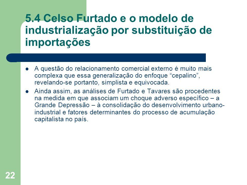 22 5.4 Celso Furtado e o modelo de industrialização por substituição de importações A questão do relacionamento comercial externo é muito mais complex
