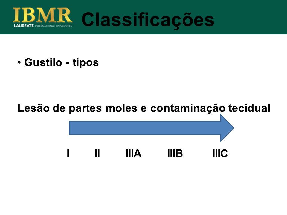 Classificações Gustilo - tipos Lesão de partes moles e contaminação tecidual I II IIIA IIIB IIIC