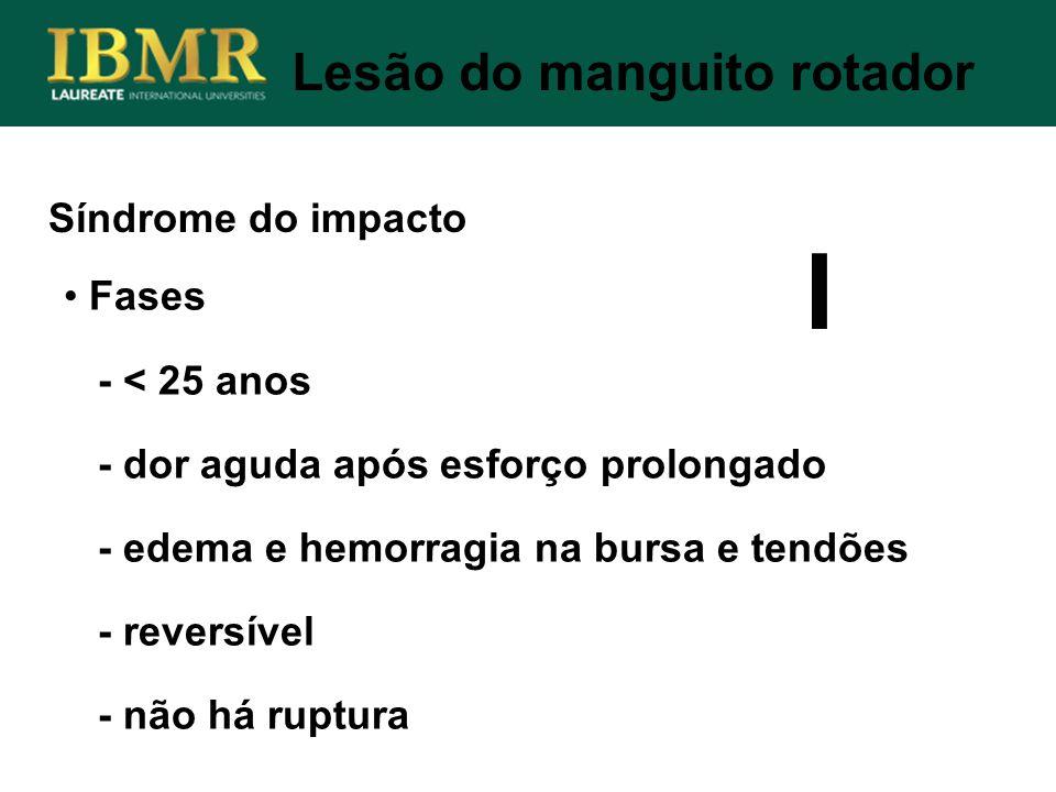 Síndrome do impacto Lesão do manguito rotador Fases - < 25 anos - dor aguda após esforço prolongado - edema e hemorragia na bursa e tendões - reversív