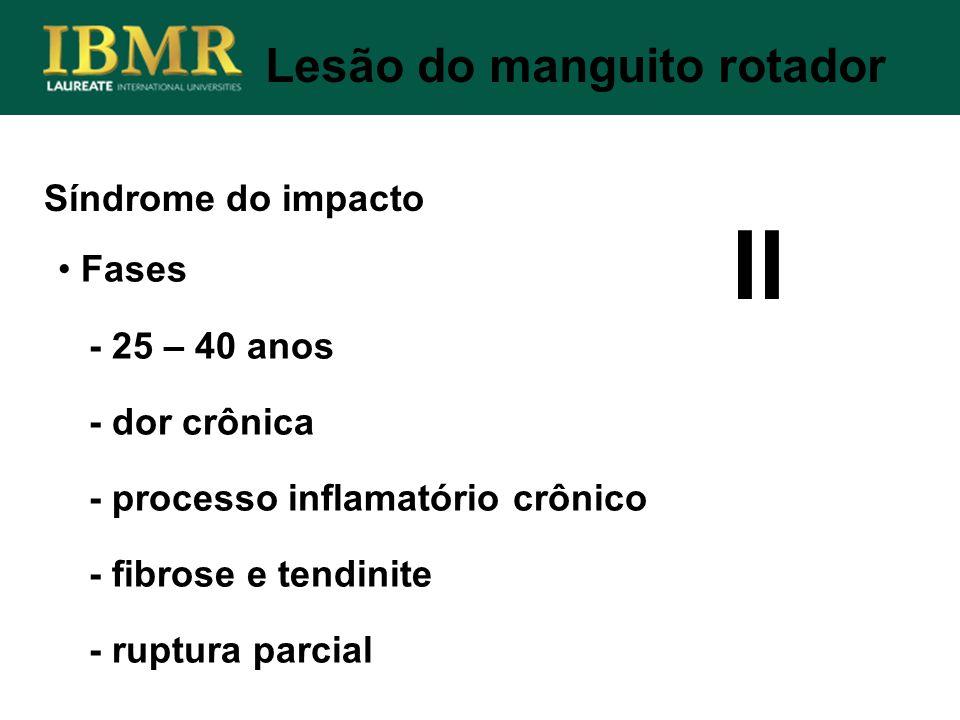 Síndrome do impacto Lesão do manguito rotador Fases - 25 – 40 anos - dor crônica - processo inflamatório crônico - fibrose e tendinite - ruptura parci