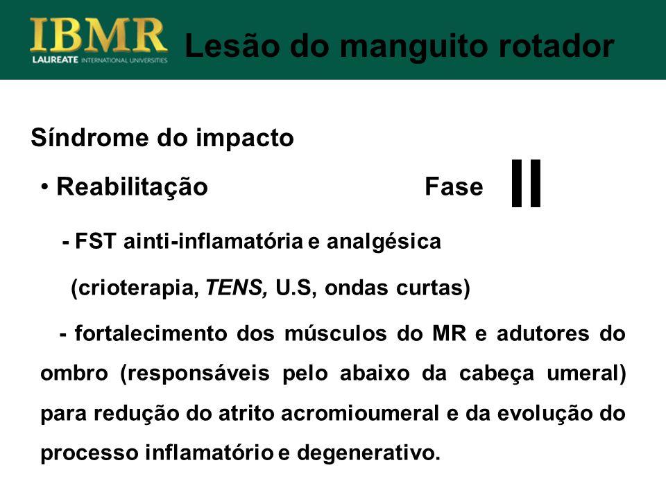 Síndrome do impacto Lesão do manguito rotador Reabilitação Fase - FST ainti-inflamatória e analgésica (crioterapia, TENS, U.S, ondas curtas) - fortale