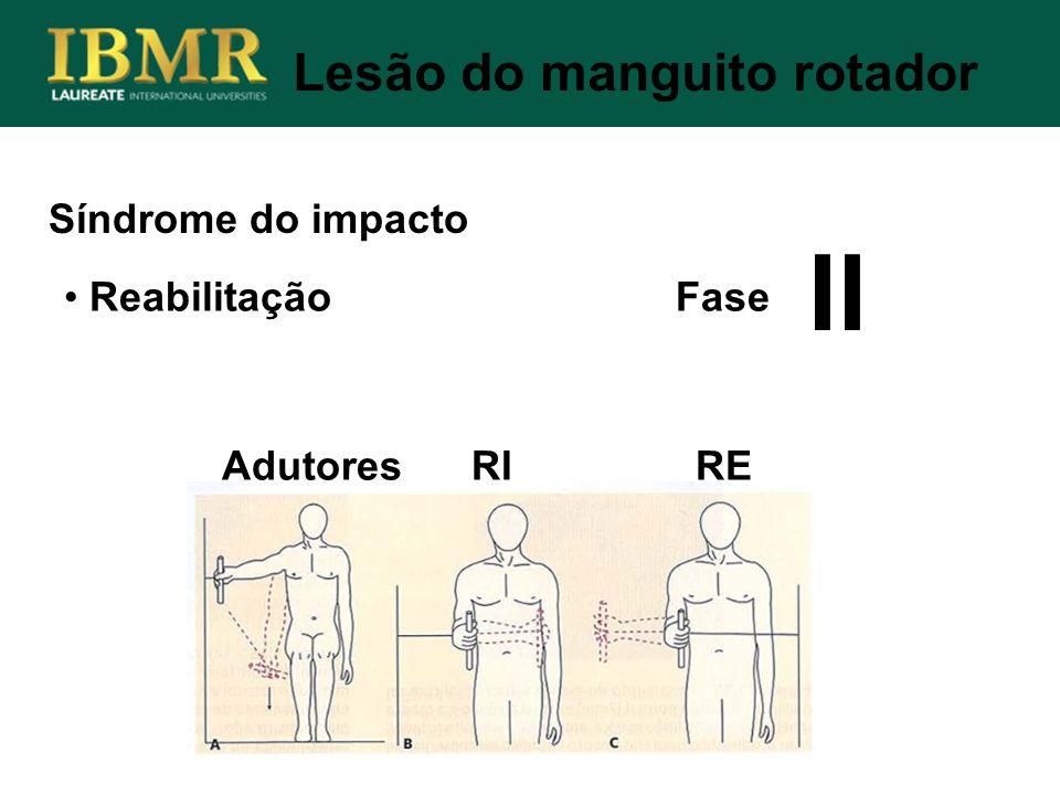 Síndrome do impacto Lesão do manguito rotador Reabilitação Fase Adutores RI RE II