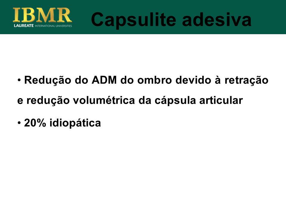 Capsulite adesiva Redução do ADM do ombro devido à retração e redução volumétrica da cápsula articular 20% idiopática