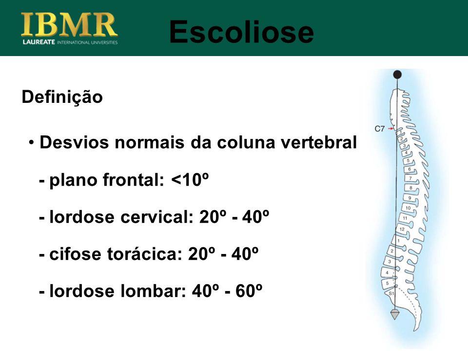Definição Desvios normais da coluna vertebral - plano frontal: <10º - lordose cervical: 20º - 40º - cifose torácica: 20º - 40º - lordose lombar: 40º -