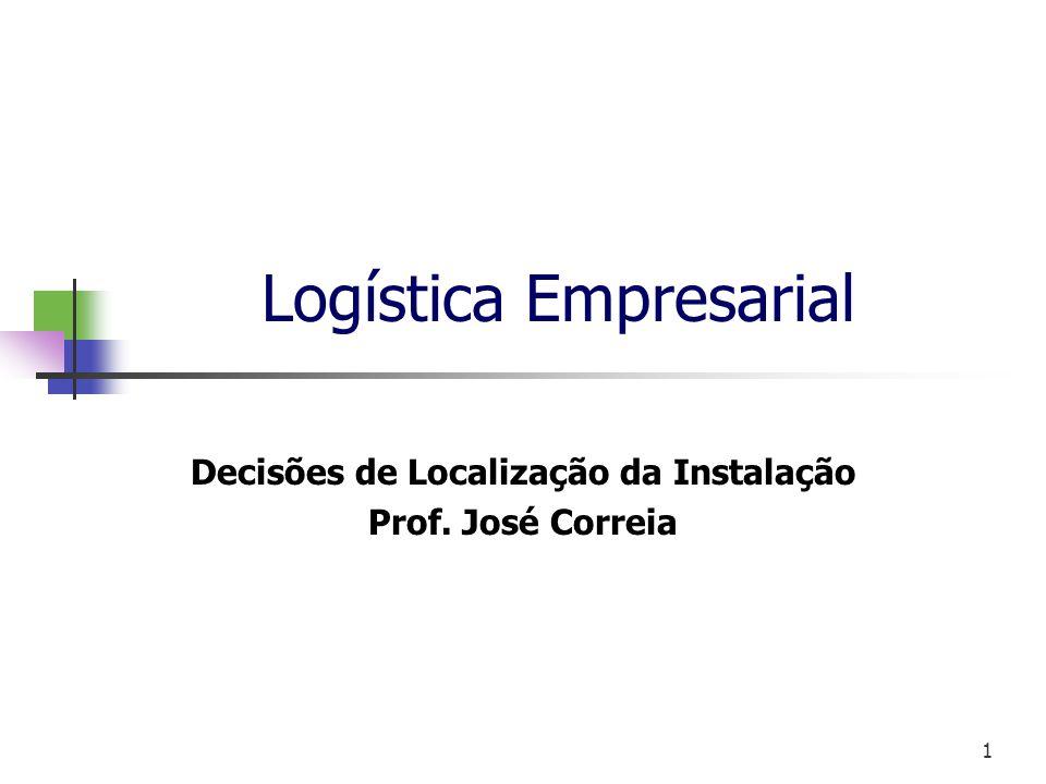 1 Logística Empresarial Decisões de Localização da Instalação Prof. José Correia