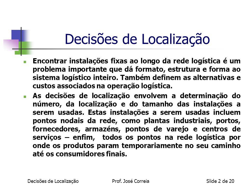 Decisões de LocalizaçãoProf. José CorreiaSlide 2 de 20 Decisões de Localização Encontrar instalações fixas ao longo da rede logística é um problema im